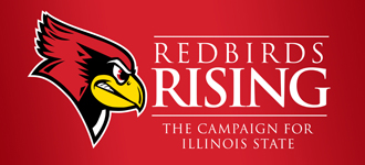 Red background with Reggie Redbird and the words 'Redbirds Rising'