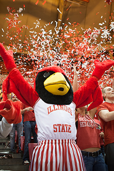 Reggie Redbird celebrates ISU win over Bradley
